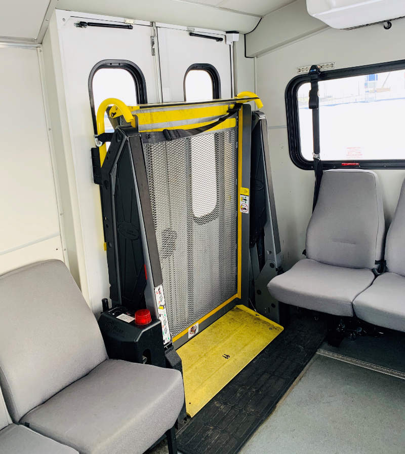 Inside Accessible Bus at Park and Jet - Calgary Airport