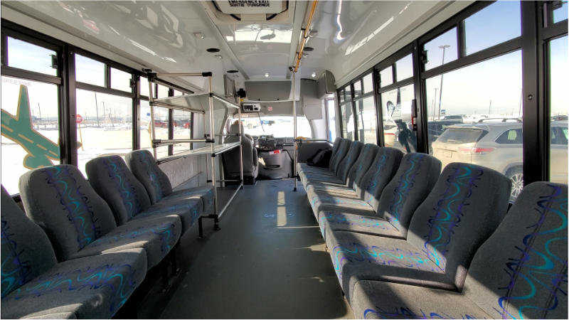 Inside Park & Jet Parking Shuttle Bus at Calgary Airport