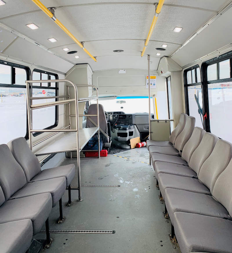 Inside Back to Front of Accessible Bus at Park & Jet - Calgary Airport